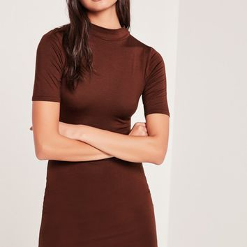 Missguided - Short Sleeve Curve Hem Bodycon Dress Burgandy