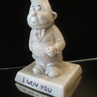Vintage Russ Berrie Sillisculpt Figurine I Wuv You Retro Kitsch Valentine's Day Collectible Home Decor