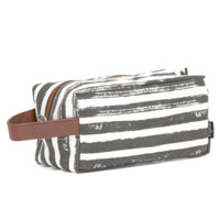 Travel Case - Charcoal Stripes