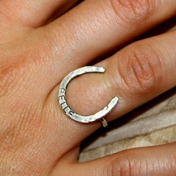Posey Lucky Horseshoe Ring - Custom Stamping
