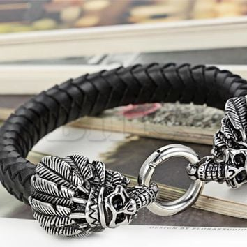 SHIPS FROM USA New Men's Stainless Steel Leather Bracelet Bangle Silver Black Native American Indian Skull 9 inch pulseira de couro