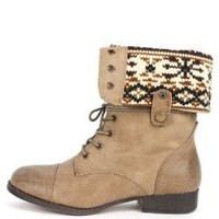 Sharper1 Black Lace Up Military Combat Boot Foldable Convertible Women Size Shoe, Taupe, 10
