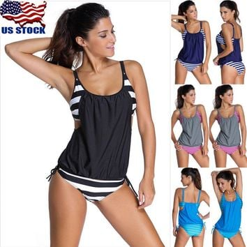Women's Tankini Bikini Set Push up Padded Swimsuit Bathing Suit Swimwear Beach W