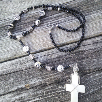 Gothic Bone Rosary, Skull Rosary Necklace, Goth Witch Black Cross Necklace,Punk Rocker Skull Jewelry, Wiccan Pagan Occult Rosary Pendulum
