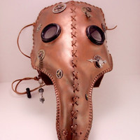 Leather Steampunk Plague Doctor Mask. Handmade, hand stitched with leather lacing. Great For Cosplay/Rave/Parties!