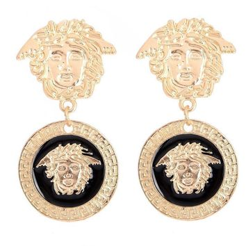 Gold Lion Head Myth Medusa Pendant Dangle drop Earrings