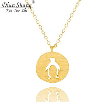 DIANSHANGKAITUOZHE Brand Jewelry Collier Stainless Steel Fashion Tiny Cut Out Penguin Circle Necklace Women Gold-Plated BFF Gift