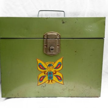 Retro Metal Filing Cabinet or Filing Box for Standard Size Paper; Industrial Retro Office Decor