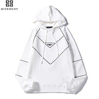 Givenchy Fashion New Embroidery Letter Women Men Hooded Long Sleeve Sweater White