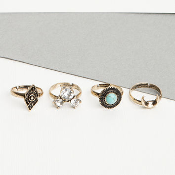 Multi Stone Boho Ring Set