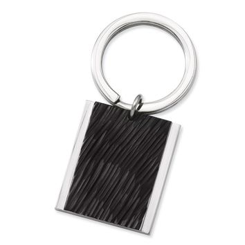 Men's Stainless Steel Polished Textured Black IP-plated Key Ring