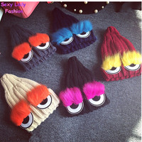 Monster Eye Faux Fur Eyelash Knitted Beanie Hat Cap Women Knit Skullies 2015 Cute New cappelli bonnets
