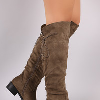 Suede Corset Lace Up Riding Boots