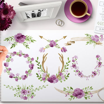 Watercolor Clipart Purple Wreaths, Laurels, Banner, Flowers, Ampersand, Antlers, Arrow perfect for (chalk) Floral wedding invitations & more