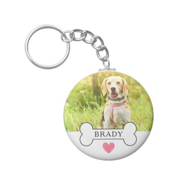 Personalized Watercolor Pink Heart Dog Photo Keychain