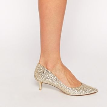 Dune Blitzen Gold Glitter Mid Heel Court Shoes
