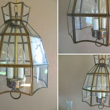 Light Fixture Mid Century Light Fixture Hanging Light Fixture Hanging Lamp Chandelier Glass and Brass Light Fixture Lighting Modern Light