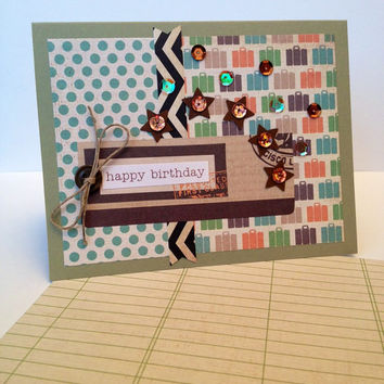 Handmade Happy Birthday Greeting Card, Unisex but Great for a Man, Brother, Boyfriend, Father, Scrapbook Paper, Travel, Suitcases