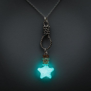 Glowing necklace - glow in the dark star bottle pendant, noose charm, glow pendant, glowing jewelry, magical, fantasy, blue, halloween