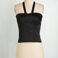 Vintage Inspired Short Length Halter Halter! Who Goes There? Top in Onyx