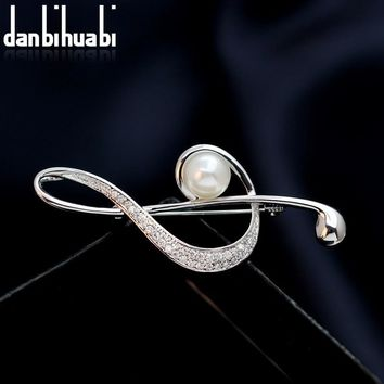 danbihuabi Fashion Pearl Zircon Pins and Brooches for Women Wedding Banquet Musical Note Brooch Pin Copper JewelryKawaii Pokemon go  AT_89_9