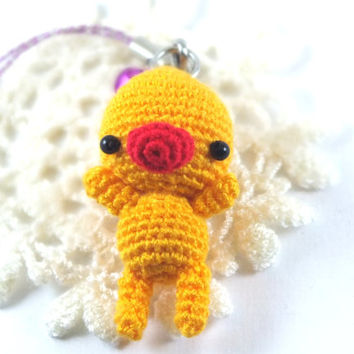 Mini Light Gold Duck Amigurumi Crochet Doll Cell Phone Charm with Black Beads Eyes // Petit, Little, Miniature Craftg