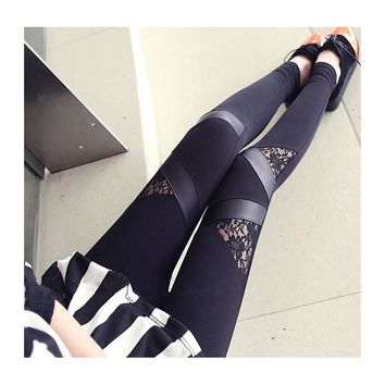 Sexy Leggings Triangle patchwork with lace wholesale women trousers Skinny stretchy pants black autumn,spring
