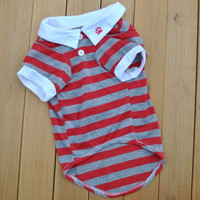 Pet Dog Clothes Wonderful Polo Puppy T Shirt Lapel Stripe Cotton Cotton Short Sleeve Summer Pets Clothing For Dogs Cat