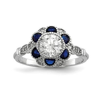 Sterling Silver White CZ & Simulated Blue Sapphire Flower Ring