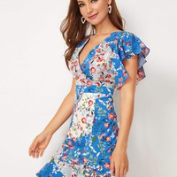 Ditsy Floral Print Butterfly Sleeve Surplice Dress