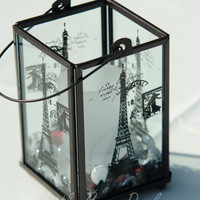 Eiffel Tower Centerpiece Lantern, Paris Decor,  - glass lantern stamped with Eiffel Tower art