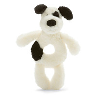 Jellycat Bashful Black & Cream Puppy Grabber 7""
