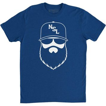 NSL Beard League Men's T-Shirt Royal/White