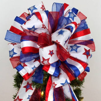 Patriotic Stars Stripes Christmas Tree Bow Topper Bow