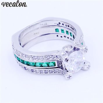 Vecalon Female male Luxury Jewelry Engagement ring Green zircon Cz 925 Sterling Silver wedding Band ring Set for women men
