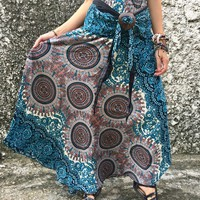 Mandala Maxi Skirt Dress Boho Hippie Gypsy Bohemian Chic style Coconut Buckle Beach Summer Festival Coachella casual Paisley Women gift