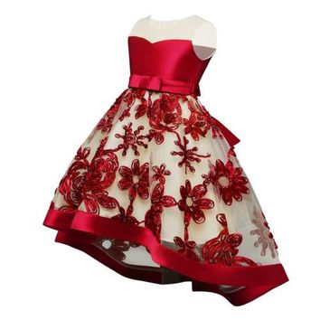 Girls Pageant Clothes Dresses flower Evening ball Gown Formal Sleeveless Kids Floral Bow Dress Sundress Girl 3-8T