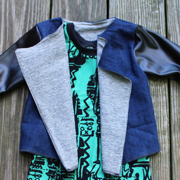 Denim baby jacket, Jean baby jacket, denim and leather baby jacket, blue toddler coat, toddler jacket, coat for baby, jacket for children