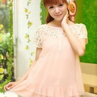 Kawaii Lolita Puff Sleeve Gauze Lace Shirt from Tobi's Finds