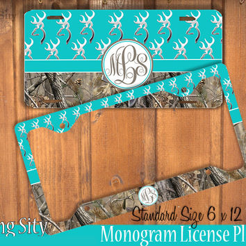 Aqua Camo Monogram License Plate Frame Holder Metal Wall Sign Tags Personalized Custom Vanity Country Girl