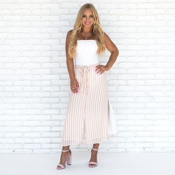Amelia Pink and White Pin Stripe Button Up Skirt