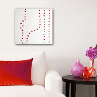 """Abstract Acrylic Painting Original Fine Art 12""""x12"""" by Linnea Heide - red white - circles"""