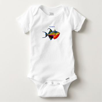 Psychedelic Colorful Triggerfish Fish Drawing Baby Onesuit