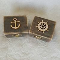 HIS and HERS Beachy Coastal Nautical Rustic Wedding Ring BOx Gift Box Trinket Box Wedding Decor