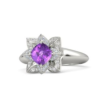 Cushion Amethyst Platinum Ring with Diamond & White Sapphire