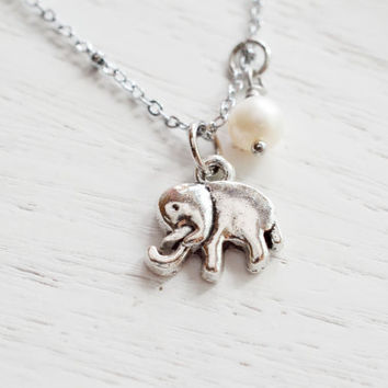 Elephant Necklace,Tiny Dainty Elephant Charm Pendant,Cool Elephant Necklace,Silver Elephant Good Lucky Necklace,Lovely Elephant Jewelry