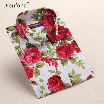 New Women's Floral Print Blouses Cotton Shirts Women Vintage Turn-Down Collar Tops Ladies Work Long Sleeve Blouse