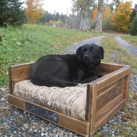 Rustic Dog Bed for Extra Small Dogs, Reclaimed Dog Bed, Pallet Furniture, Pet Bed