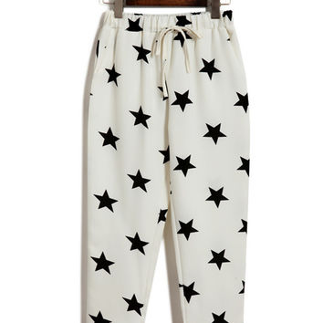 White Star Printed Capri Pants