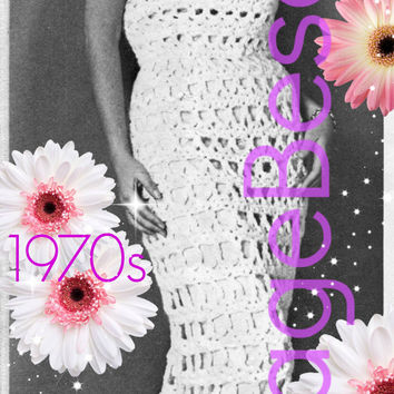 EASY Gown CROCHET Pattern Vintage 70s Sexy Dress Pattern Old Hollywood Mad Men Empire Gown Film Noir INSTANT Download Pdf Pattern